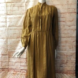 VTG Frank Masandrea 8 Brown Linen Beaded Dress L/S